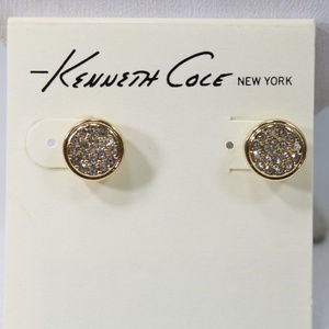 Kenneth Cole Gold Tone Clear Crystal Stud Earrings